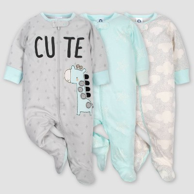Gerber Baby 3pk Giraffe Sleep N' Play Pajamas - Turquoise/Gray 3-6M