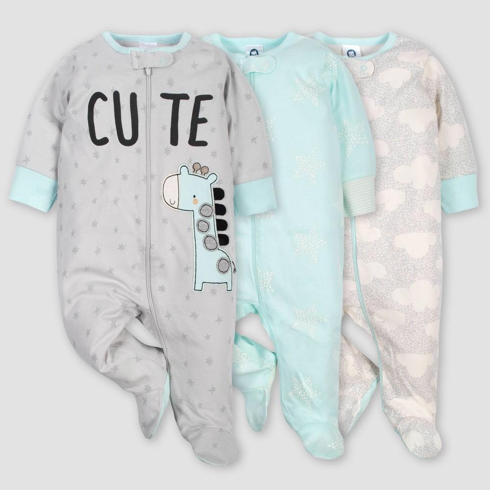 Image of Gerber Baby 3pk Giraffe Sleep N' Play Pajamas - Turquoise/Gray 0-3M, Kids Unisex, Blue