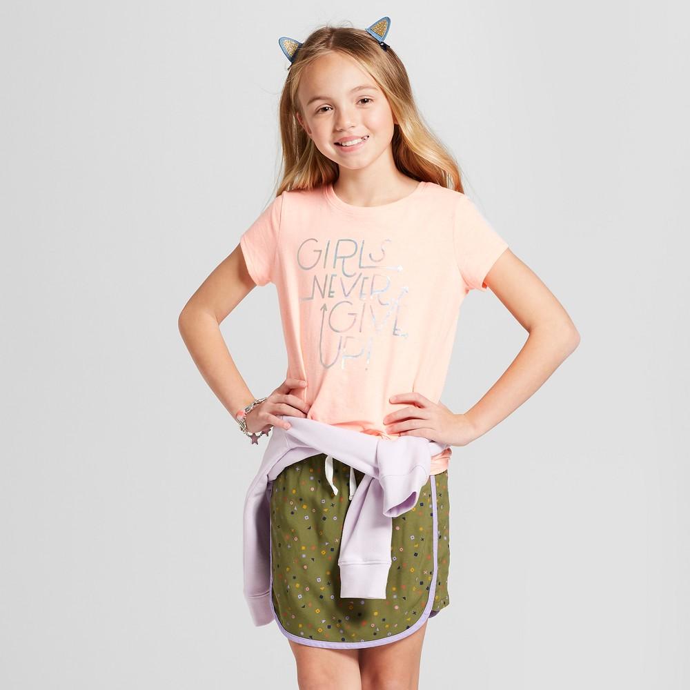 Girls' Short Sleeve Girls Never Give Up Graphic T-Shirt - Cat & Jack Peach XL, Orange