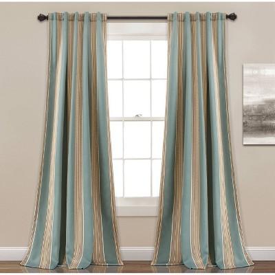 Set of 2 Julia Striped Room Light Filtering Curtain Panels Blue - Lush Décor