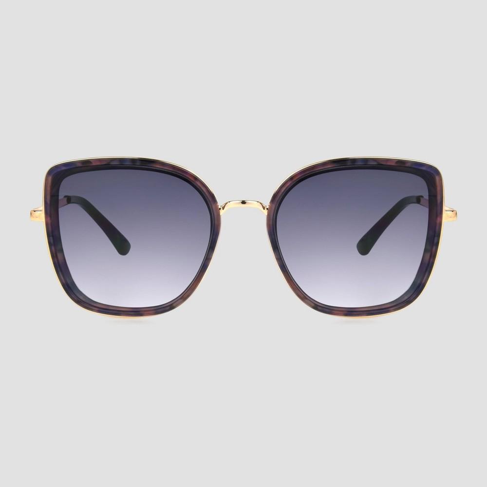 Women 39 S Tortoise Shell Print Brown Square Sunglasses A New Day 8482 Purple Black