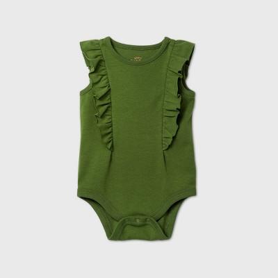 Baby Girls' Ruffle Short Sleeve Bodysuit - Cat & Jack™ Green 6-9M