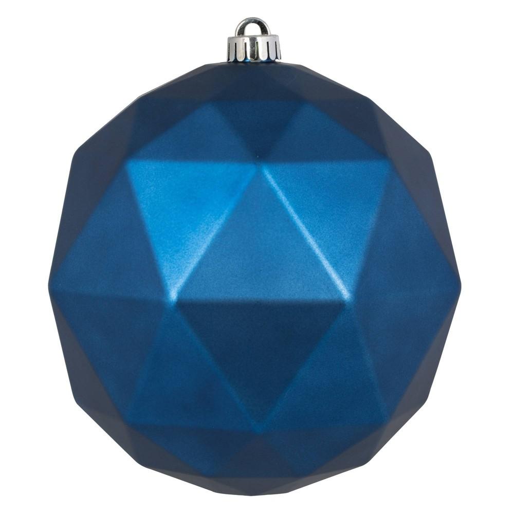 """Vickerman 8"""" Midnight Blue Matte Geometric Ball Ornament"""