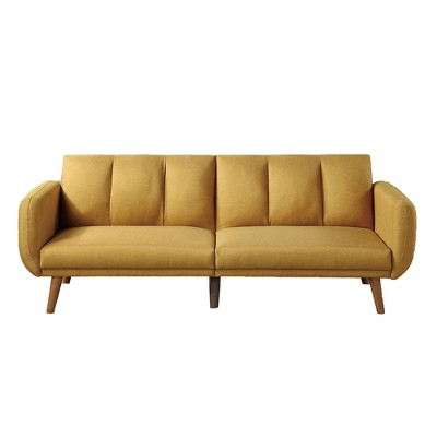 Adjustable Upholstered Sofa with Track Armrests and Angled Legs - Benzara
