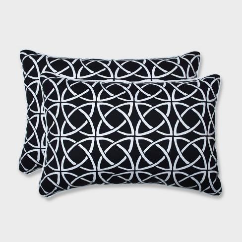2pk Oversize Catamaran Tile Rectangular Throw Pillows Black - Pillow Perfect - image 1 of 1