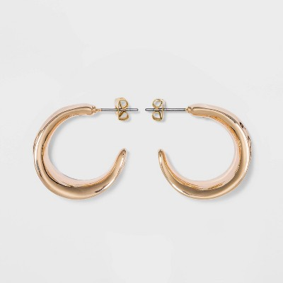Chunky Hammered Hoop Earrings - A New Day™ Gold