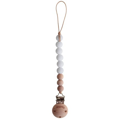 Mushie Cleo Pacifier Clip - White