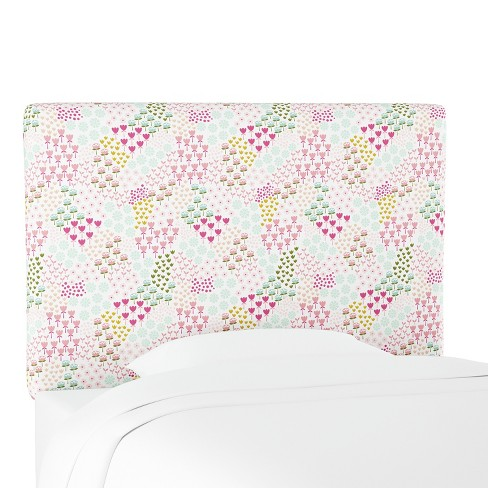 Kids Printed Upholstered Headboard Queen Flower Patch Pink