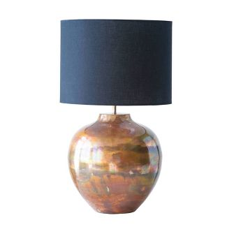 Metal Table Lamp with Fabric Shade Copper/Black - 3R Studios