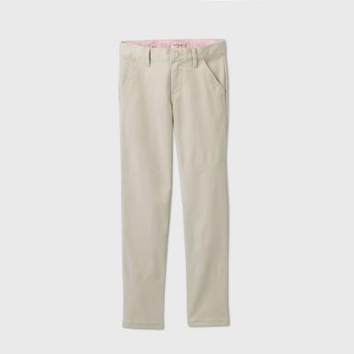 Girls' Flat Front Stretch Uniform Skinny Pants - Cat & Jack™ Light Khaki