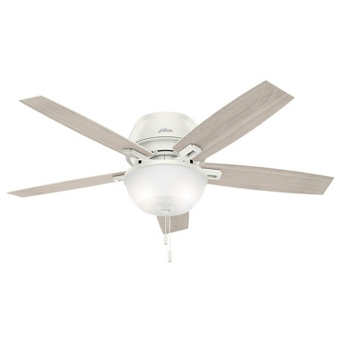 52 Donegan Low Profile Fresh White Ceiling Fan With Light Hunter Target