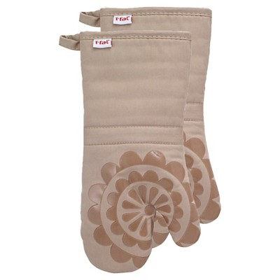 Tan Medallion Silicone Oven Mitt 2 Pack (13 x13 )T-Fal