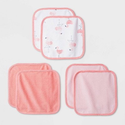 Baby Girls' 6pk Flamingo Washcloth Set - Cloud Island™ Coral