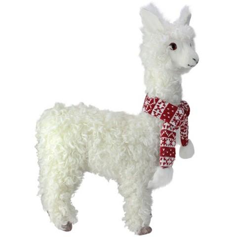 Christmas Llama.Raz Imports 17 Country Rustic Ivory Christmas Llama Tabletop Decoration