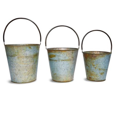 Juvale 3 Pack Galvanized Rustic Metal Buckets with Handles for Planters and Garden Decor (3 Sizes)