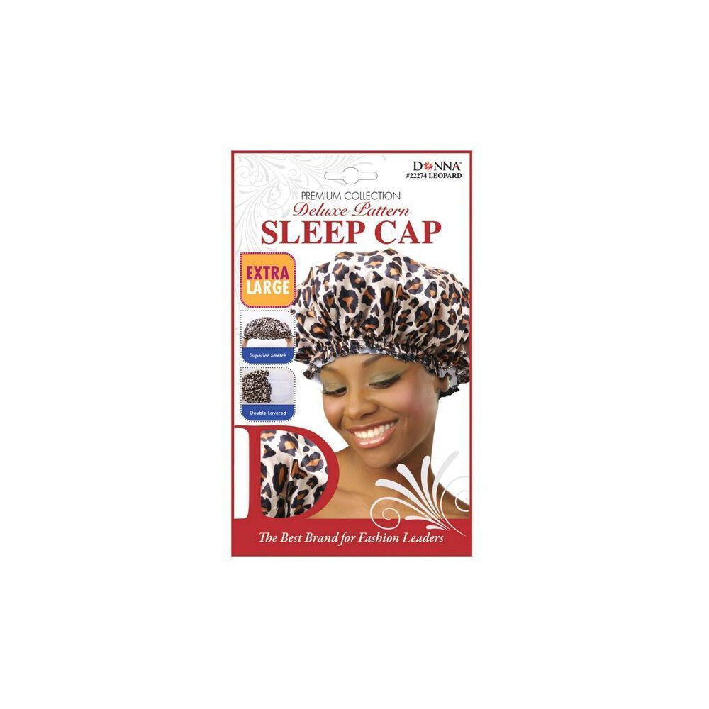 Donna Extra Large Leopard Sleep Cap, Brown