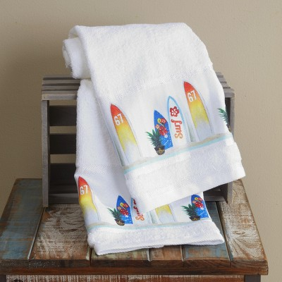 Lakeside Surfer Hand Towels for Bathrooms, Kitchen with Beach Theme - Set of 2