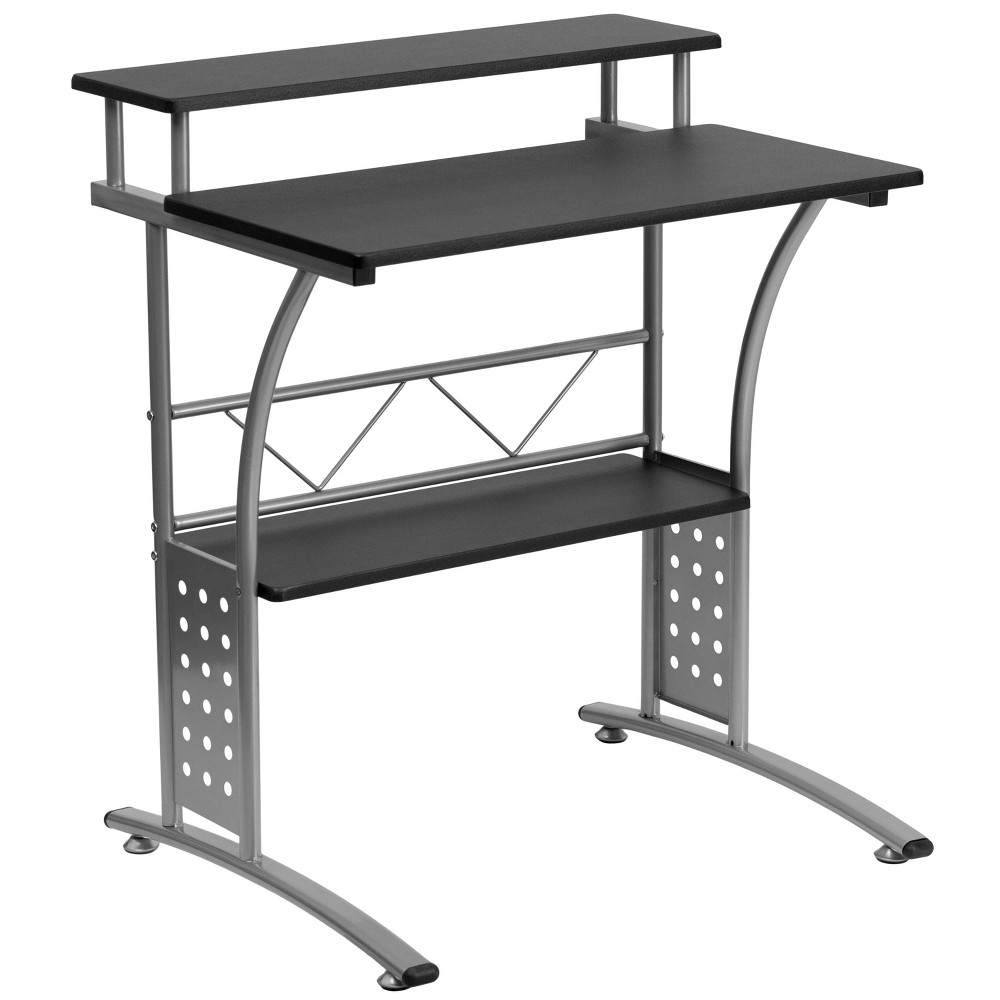 The Clifton Computer Desk is an efficient and secure workstation that fits well in small spaces. The generous desk surface is made from black laminate with a raised top shelf for your monitor and a lower bottom shelf for your hard-drive and other supplies. The desk has a modern silver, powder coated frame finish and a perforated lower frame design. Self-leveling floor glides keep your desk from wobbling on uneven floor surfaces and protect your floors by sliding smoothly when you need to move the desk. The efficient Clifton desk has a modern design that works well for both writing projects and computer work.