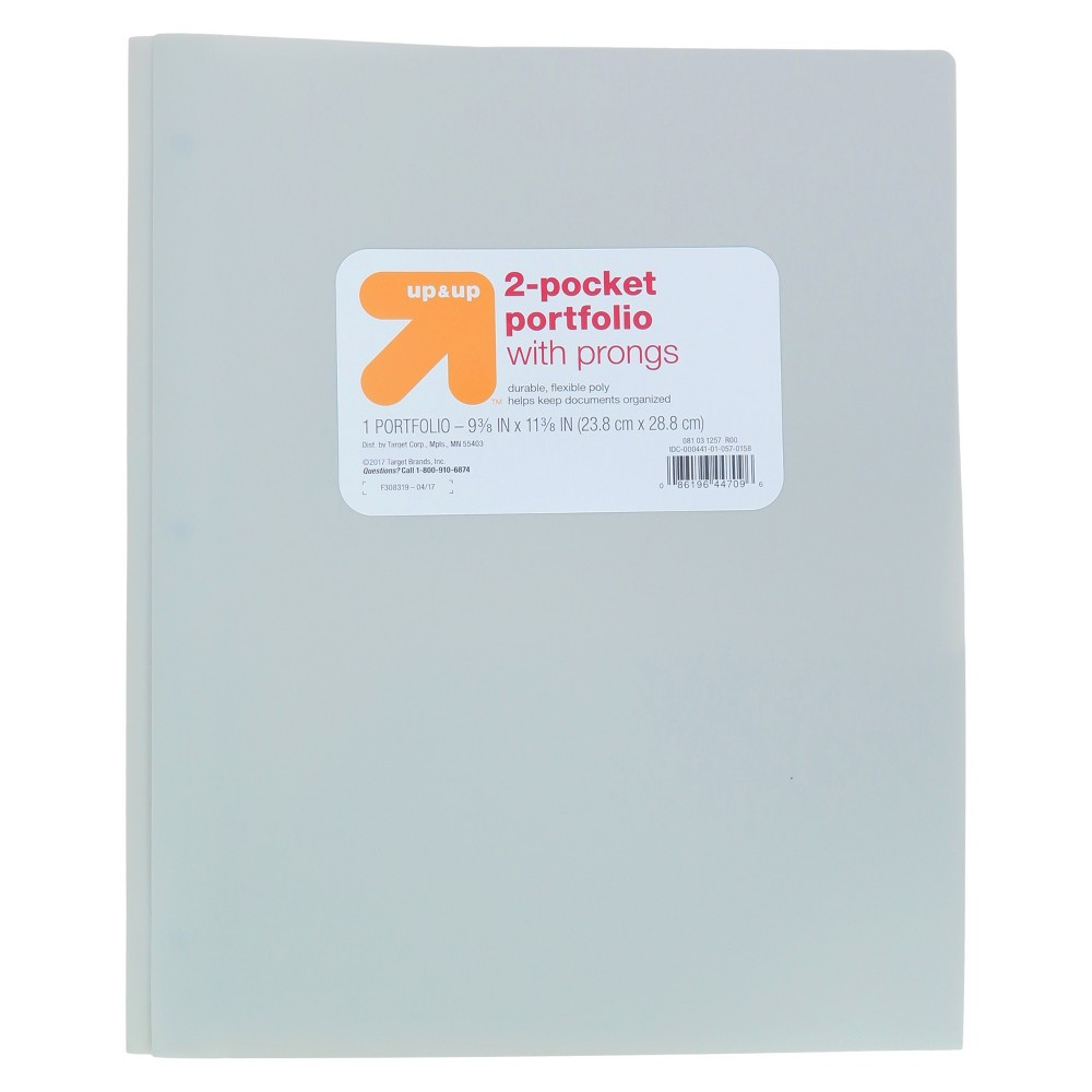 2 Pocket Plastic Folder with Prongs Gray - Up&Up was $0.75 now $0.5 (33.0% off)
