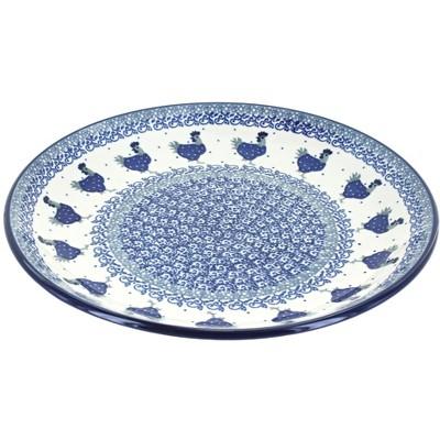 Blue Rose Polish Pottery Barnyard Rooster Dinner Plate
