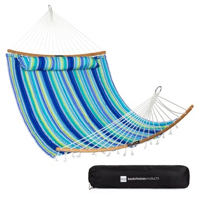 Best Choice Products 2-Person Portable Quilted Hammock w/ Curved Bamboo Spreader Bar, Pillow, Carry Bag