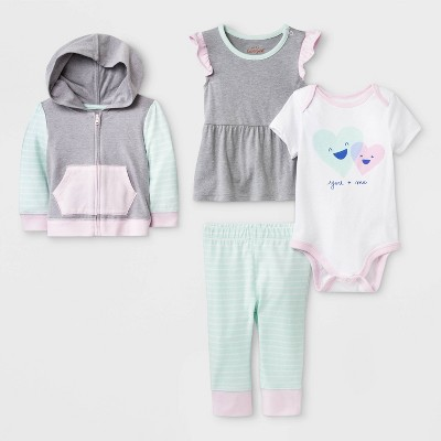Baby Girls' Bodysuit, Tunic, Hoodie and Leggings Set - Cat & Jack™ Gray/White/Green 18M