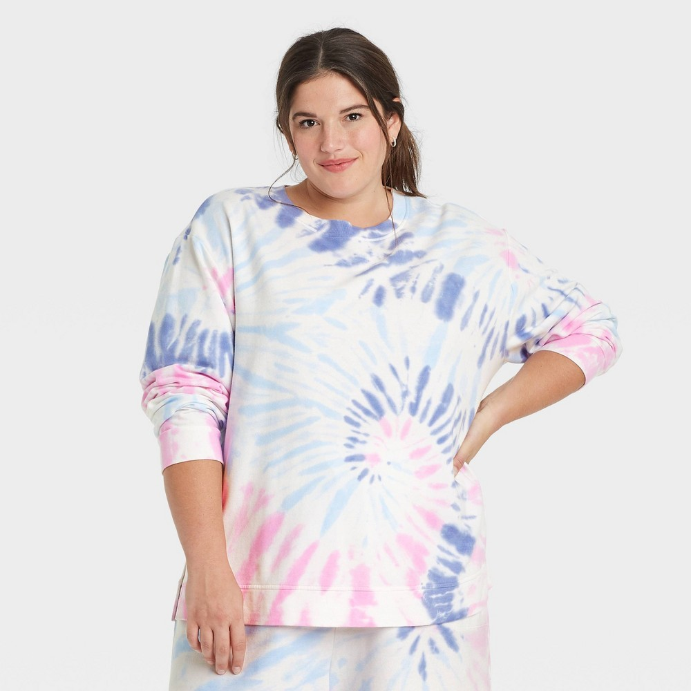 Women 39 S Plus Size Tie Dye Sweatshirt Ava 38 Viv 8482 Blue 3x