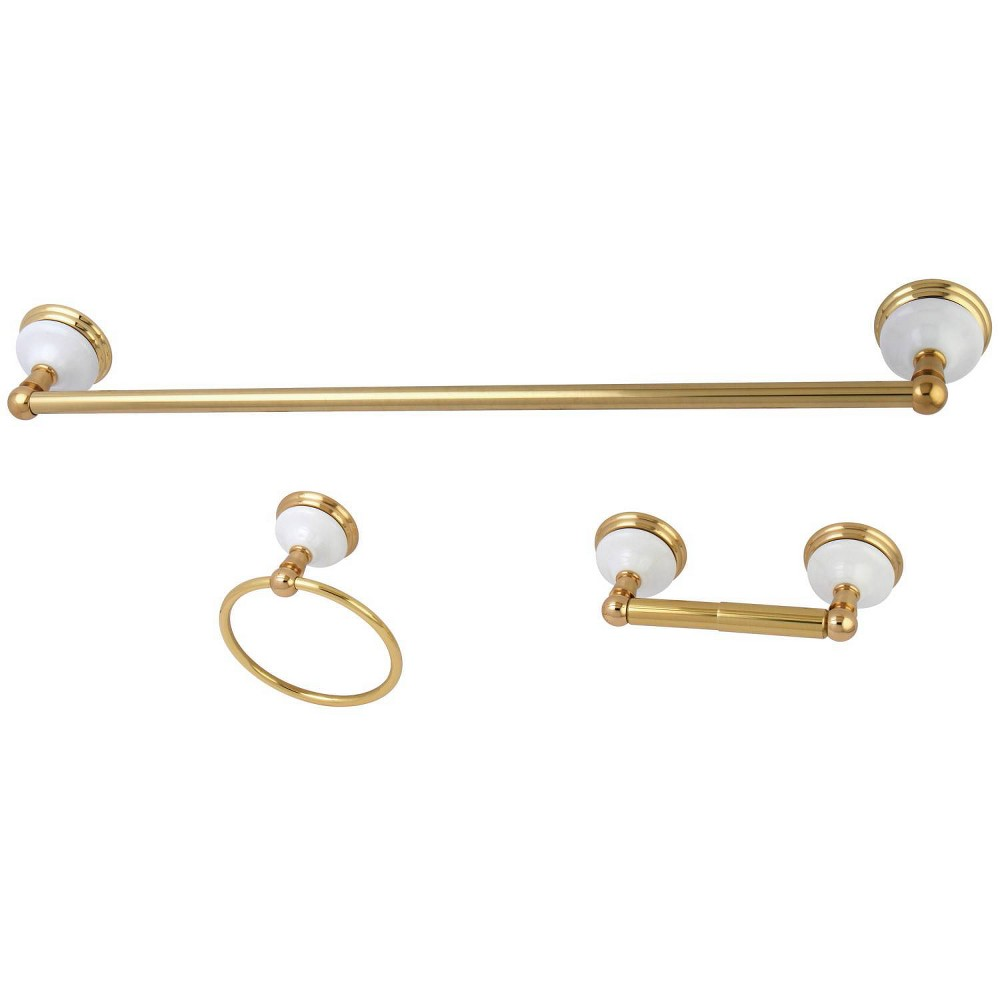 Image of 3pc Victorian Towel Bar Bathroom Hardware Set Polished Brass - Kingston Brass