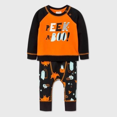 Baby Boys' Peek-a-Boo Long Sleeve Top & Bottom Set - Cat & Jack™ Orange Newborn