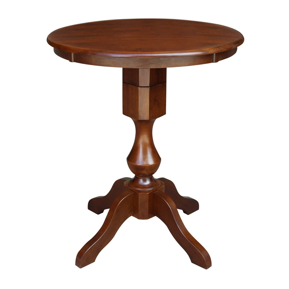 30 Nell Round Top Pedestal Table Counter Height Espresso International Concepts