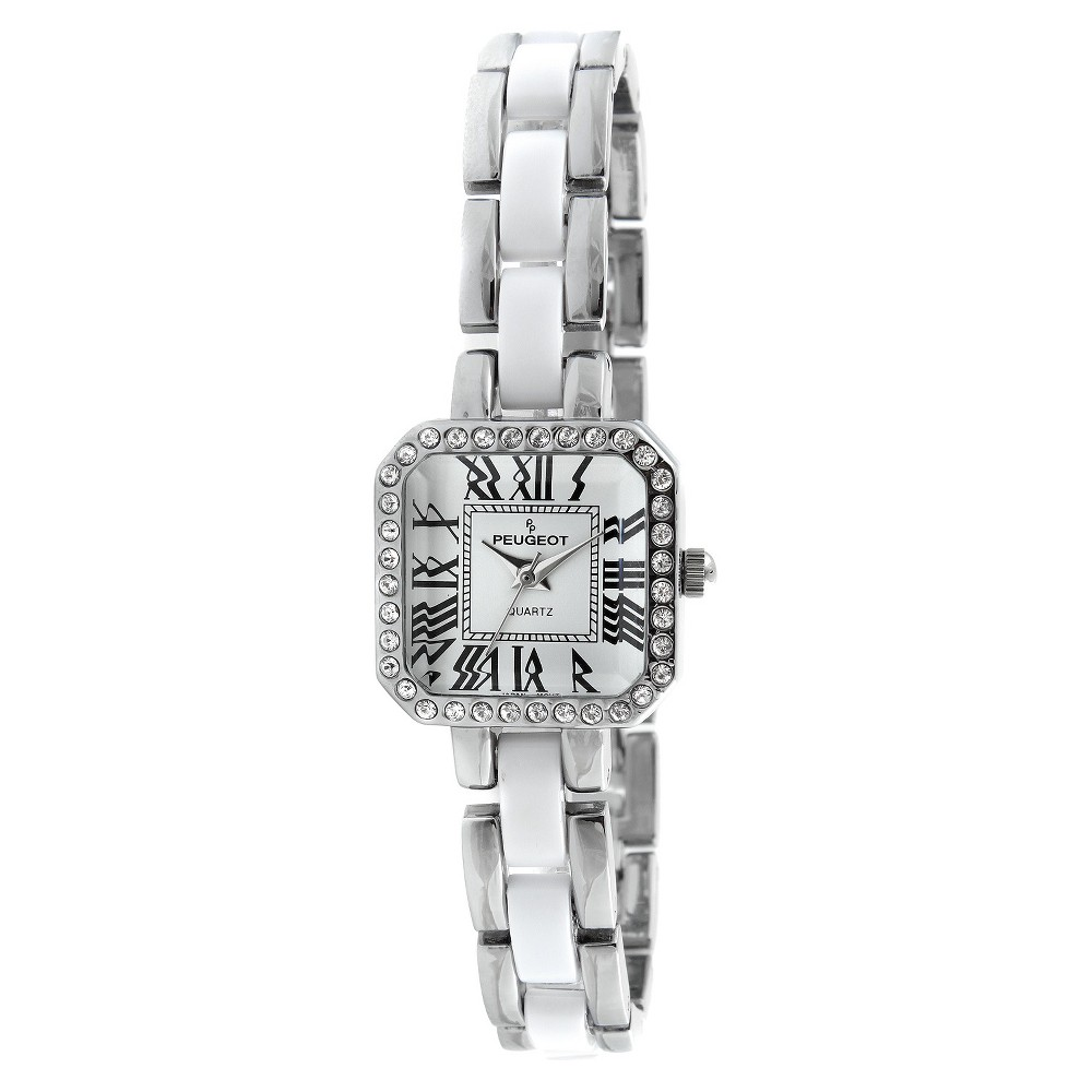Peugeot Women's Acrylic Link Crystal Accented Watch - Silver & White This casual timepiece features an analog time display. Color: Silver. Gender: Female. Age Group: Adult. Material: Acrylic.
