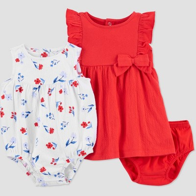 Baby Girls' Floral Bubble Romper - Just One You® made by carter's Red