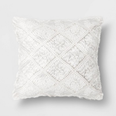 Square Heathered Macrame Throw Pillow White - Opalhouse™