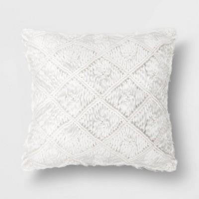Square Heathered Macrame Throw Pillow  - Opalhouse™
