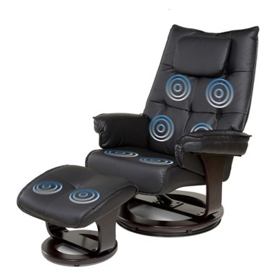 8 Motor Massage Recliner with Heat And Ottoman Black - Relaxzen