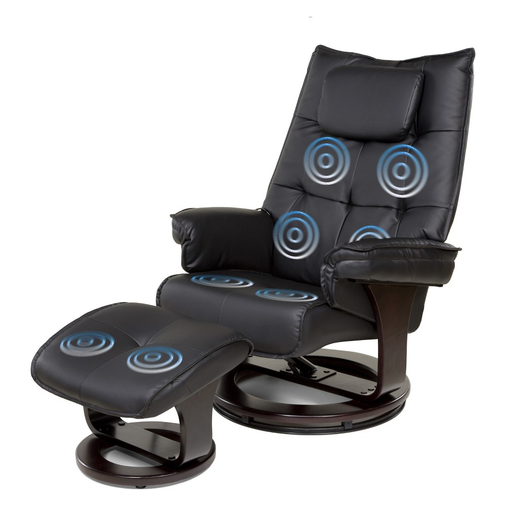 Image of 8 Motor Massage Recliner with Heat And Ottoman Black - Relaxzen
