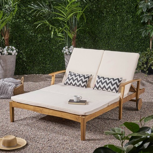 Perla Acacia Wood Double Chaise Lounge, Double Chaise Lounge Outdoor