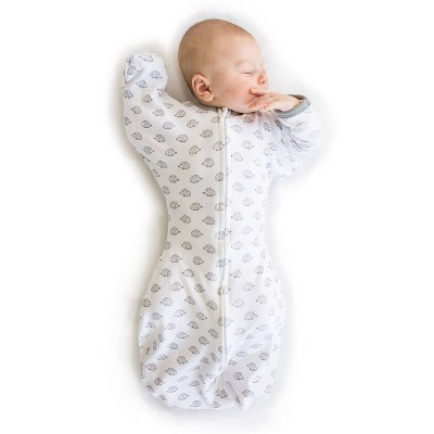 SwaddleDesigns Transitional Swaddle Sack Wearable Blanket - White - S - 0-3 Months