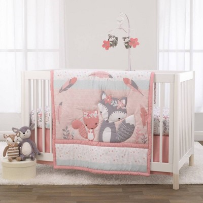 Little Love By Nojo Desert Flower Fox and Feathers Crib Bedding Set - 3pc