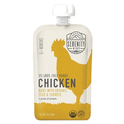 Serenity Kids Free Range Chicken with Organic Peas & Carrots Baby Meals - 3.5oz