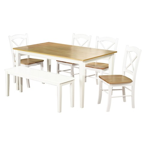 6 Piece Tiffany Dining Table Set Wood/White - TMS