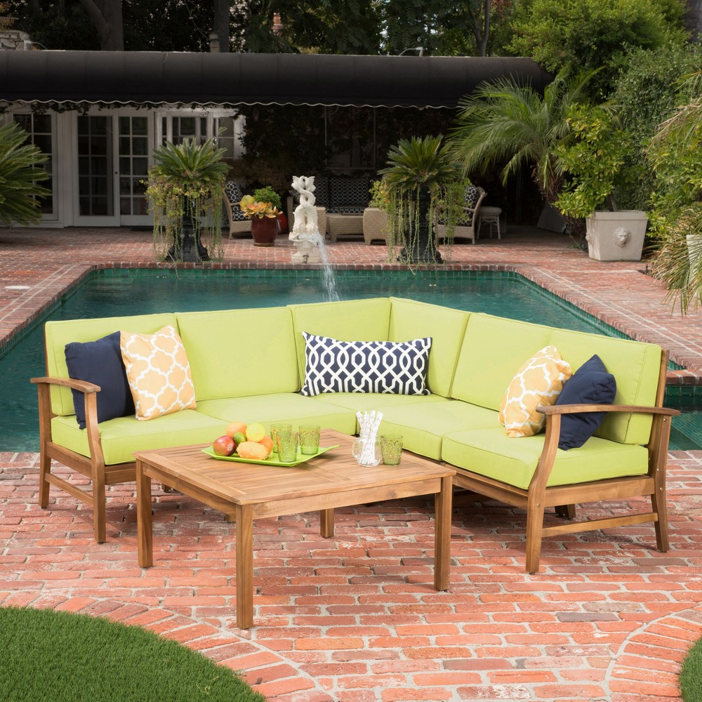 Perla 6pc Acacia Wood Patio Chat Set - Green - Christopher Knight Home