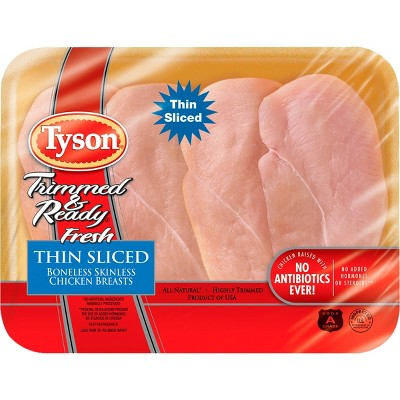 Tyson Trimmed & Ready Boneless & Skinless Thin Sliced Chicken Breasts - 0.76-1.988 lbs - price per lb