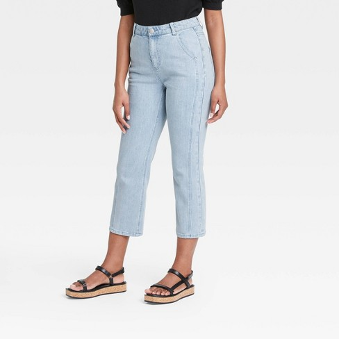 Women's Flare Cropped Denim Pants - Who What Wear™ Blue - image 1 of 3