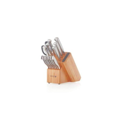 Sabatier 16pc Edgekeeper Stainless Steel Knife Set with Bamboo Block