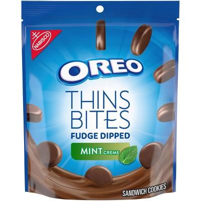 Oreo Thins Bites Fudge Dipped Mint Creme Sandwich Cookies - 6oz