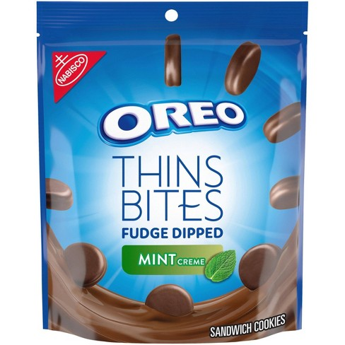 Oreo Thins Bites Fudge Dipped Mint Creme Sandwich Cookies - 6oz - image 1 of 4
