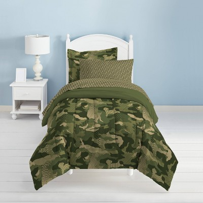 Dream Factory Geo Camo Mini Bed in a Bag - Green (Full)