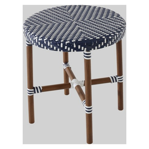 French Café Wicker Patio Accent Table Navy White Threshold