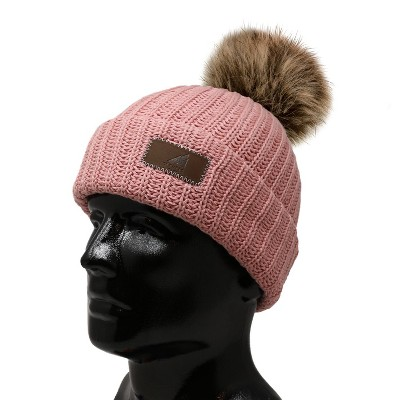 Arctic Gear Adult Cotton Cuff Winter Hat Cool gray with White Pom